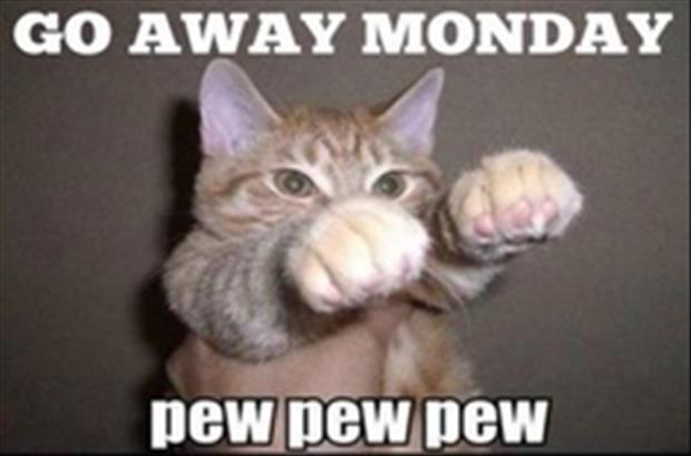 Go away Monday. Pew pew pew Picture Quote #1