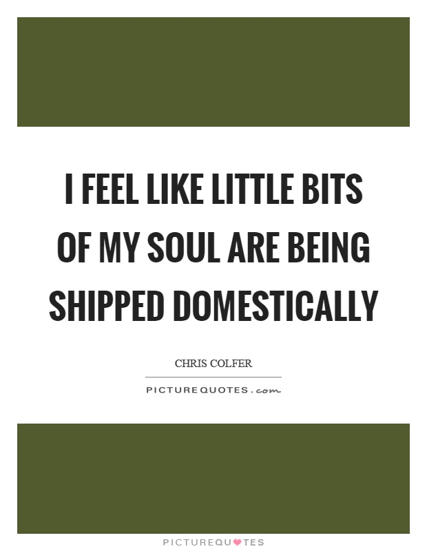 I feel like little bits of my soul are being shipped domestically Picture Quote #1