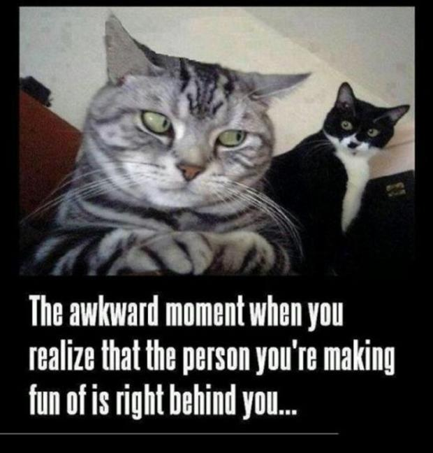 The awkward moment when you realize that the person you're making fun of is right behind you Picture Quote #1