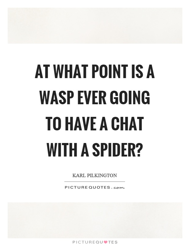 At what point is a wasp ever going to have a chat with a spider? Picture Quote #1