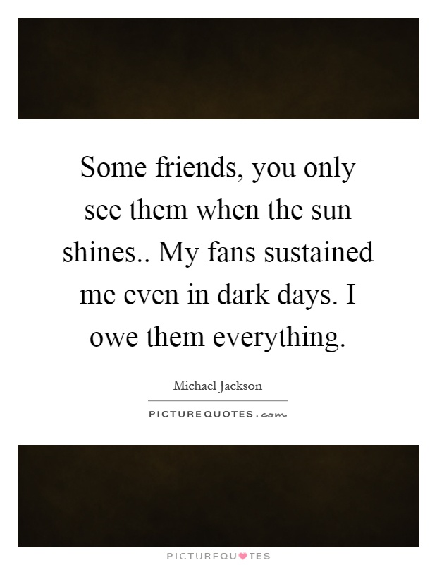 Some friends, you only see them when the sun shines.. My fans sustained me even in dark days. I owe them everything Picture Quote #1