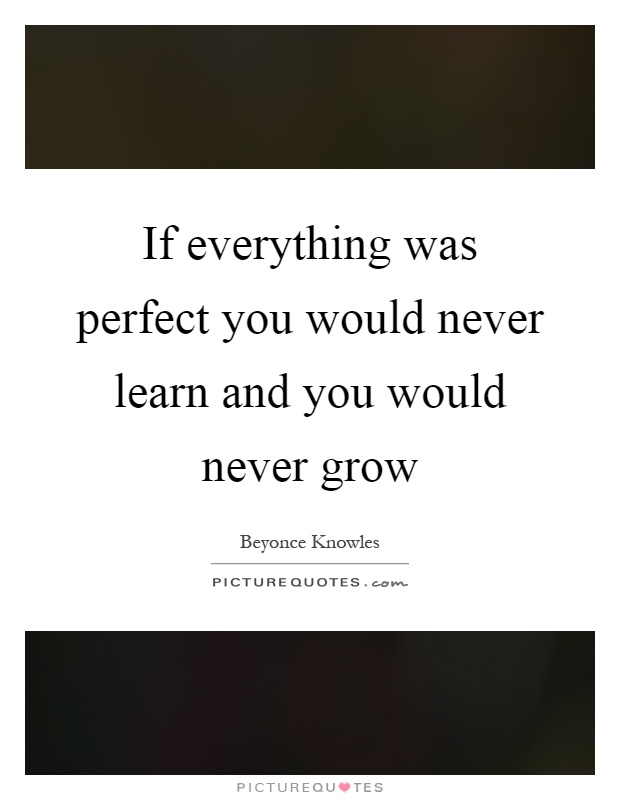 If everything was perfect you would never learn and you would never grow Picture Quote #1