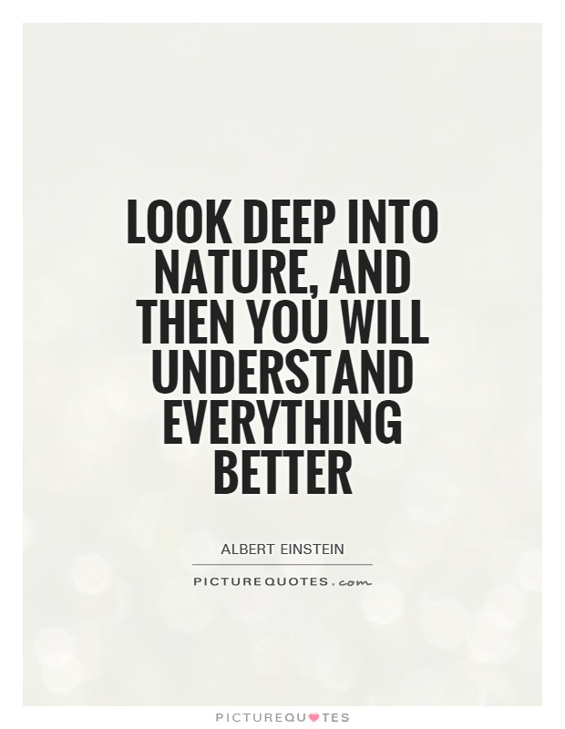 Look deep into nature, and then you will understand everything better Picture Quote #1