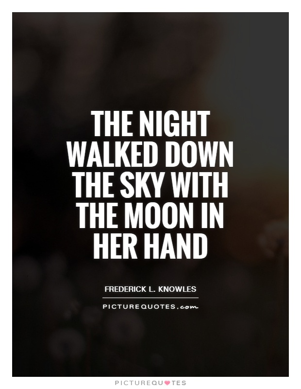 The night walked down the sky with the moon in her hand Picture Quote #1