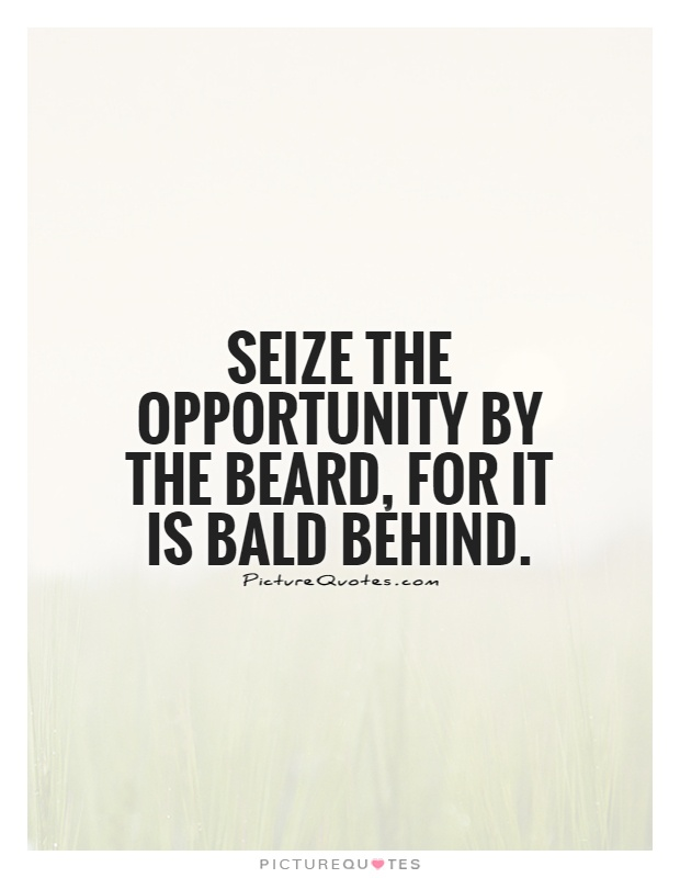Seize the opportunity by the beard, for it is bald behind Picture Quote #1