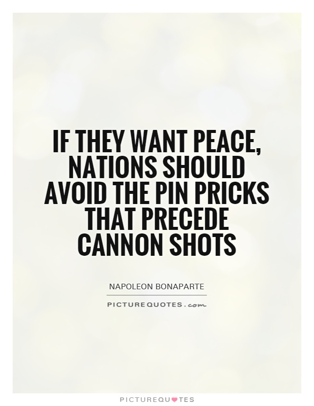 If they want peace, nations should avoid the pin pricks that precede cannon shots Picture Quote #1