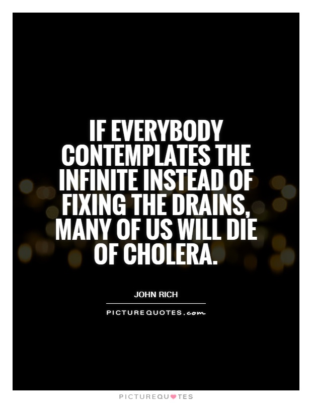 If everybody contemplates the infinite instead of fixing the drains, many of us will die of cholera Picture Quote #1