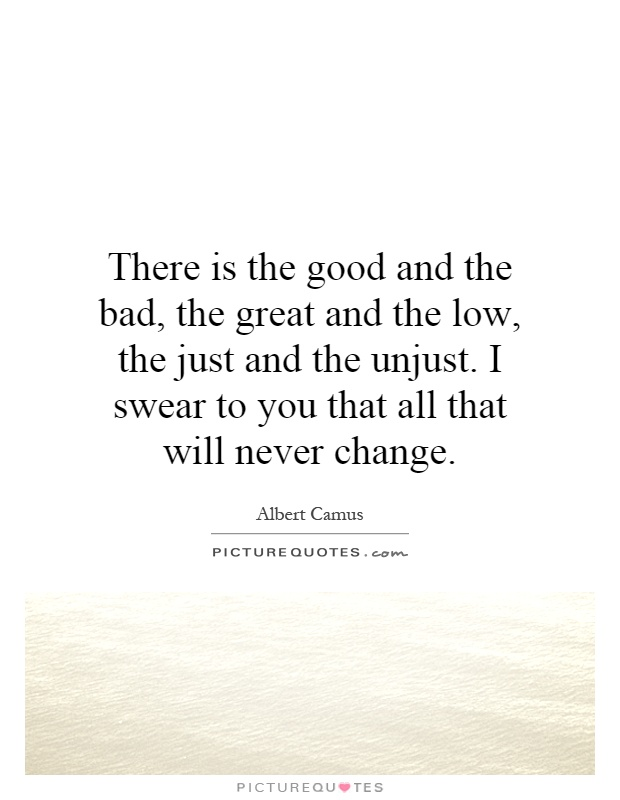 There is the good and the bad, the great and the low, the just and the unjust. I swear to you that all that will never change Picture Quote #1