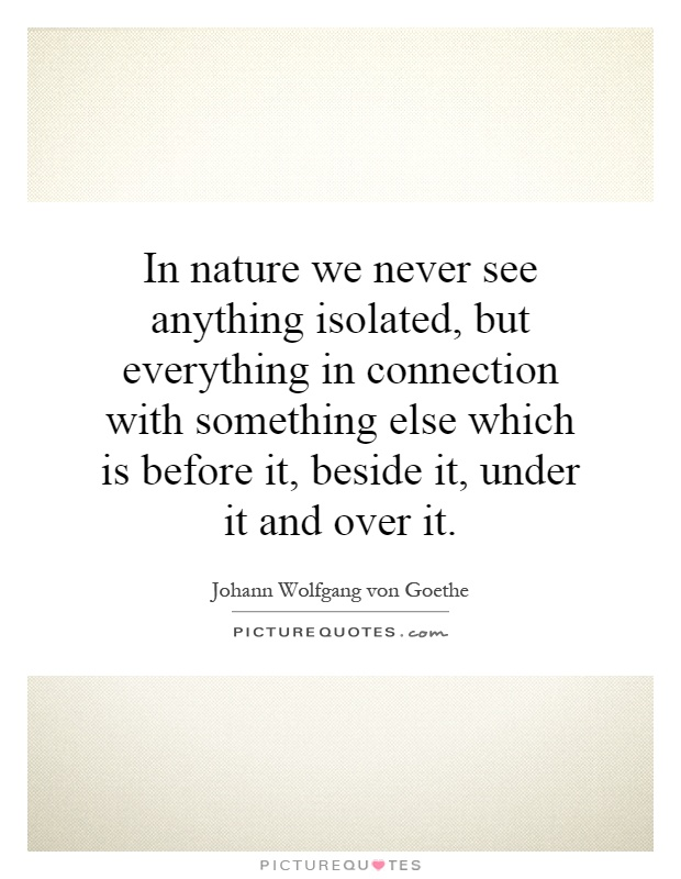 In nature we never see anything isolated, but everything in connection with something else which is before it, beside it, under it and over it Picture Quote #1