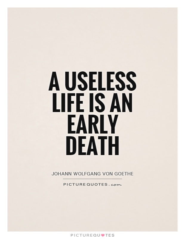A useless life is an early death Picture Quote #1