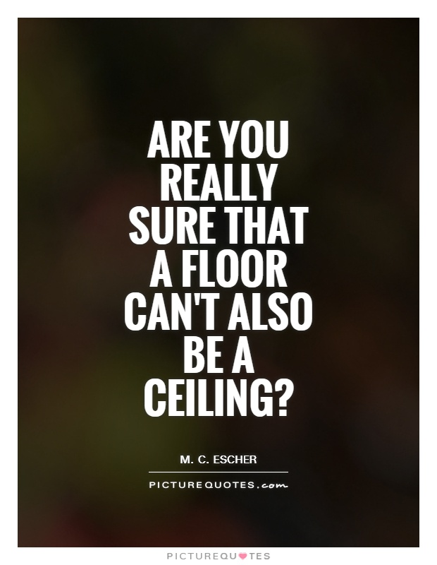 Are you really sure that a floor can't also be a ceiling? Picture Quote #1