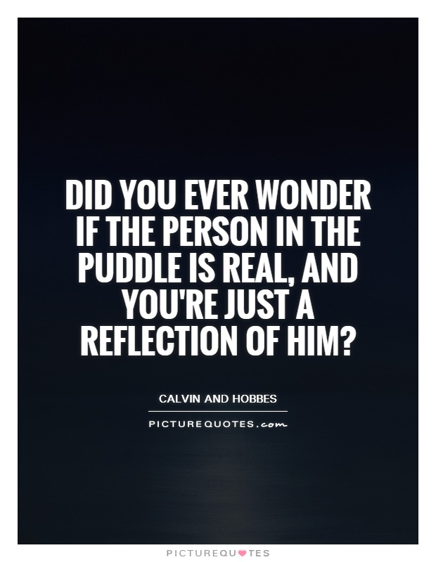 Did you ever wonder if the person in the puddle is real, and you're just a reflection of him? Picture Quote #1