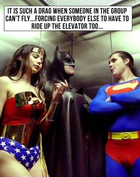 It is such a drag when someone in the group can't fly... forcing everybody else to have to ride up in the elevator too Picture Quote #1
