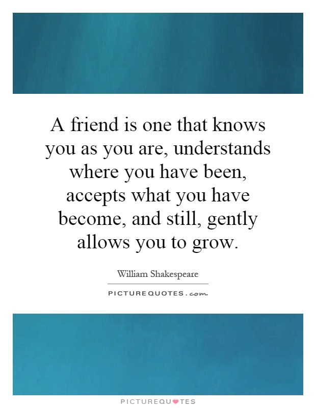 A friend is one that knows you as you are, understands where you have been, accepts what you have become, and still, gently allows you to grow Picture Quote #1