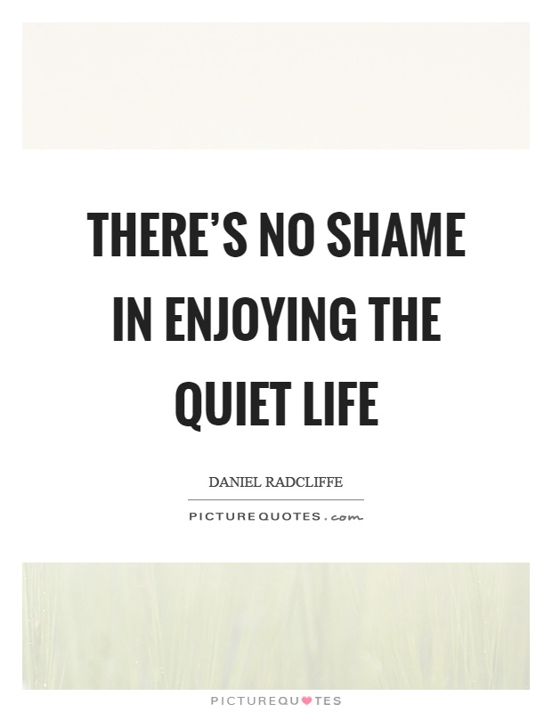 There's no shame in enjoying the quiet life Picture Quote #1