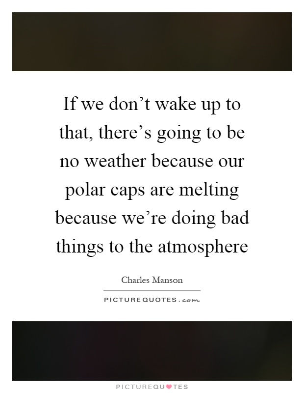 If we don't wake up to that, there's going to be no weather because our polar caps are melting because we're doing bad things to the atmosphere Picture Quote #1