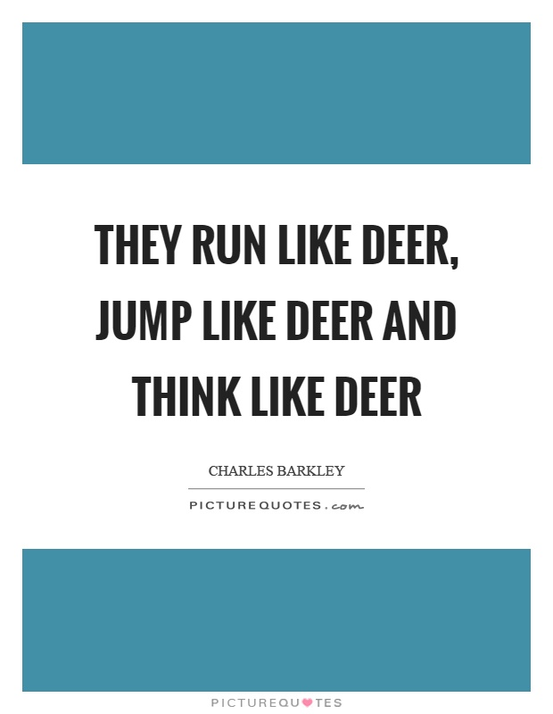 They run like deer, jump like deer and think like deer Picture Quote #1