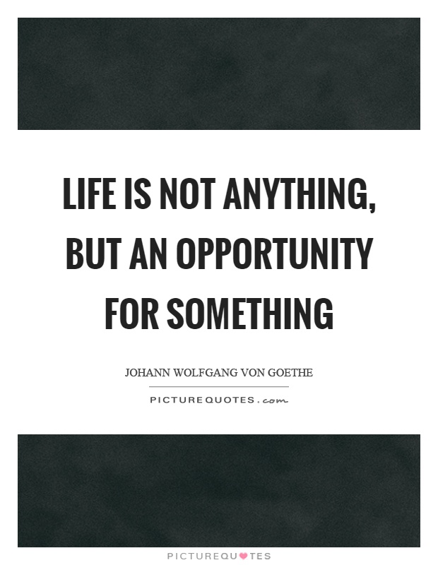 Life is not anything, but an opportunity for something Picture Quote #1