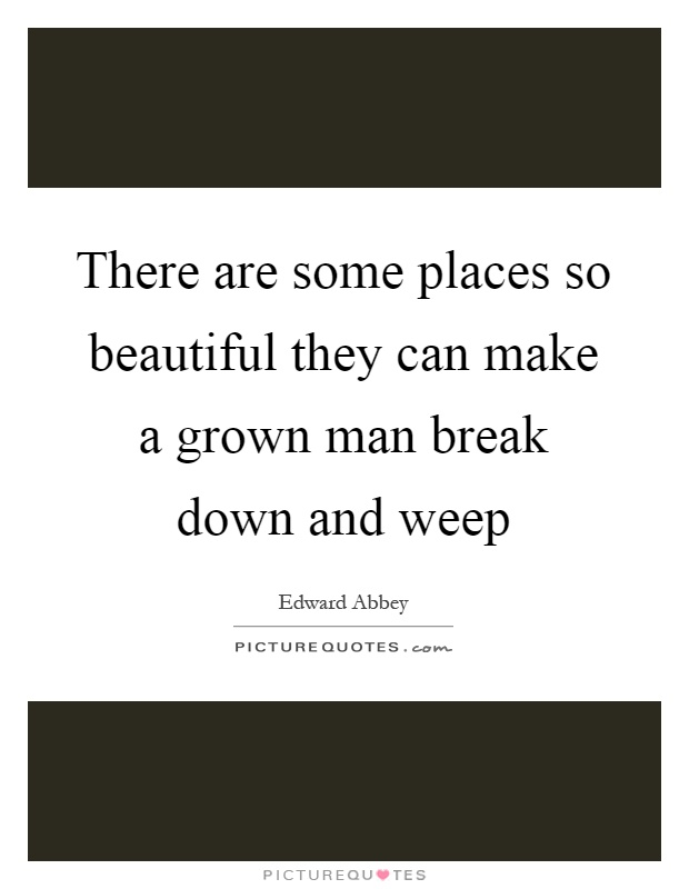 There are some places so beautiful they can make a grown man break down and weep Picture Quote #1