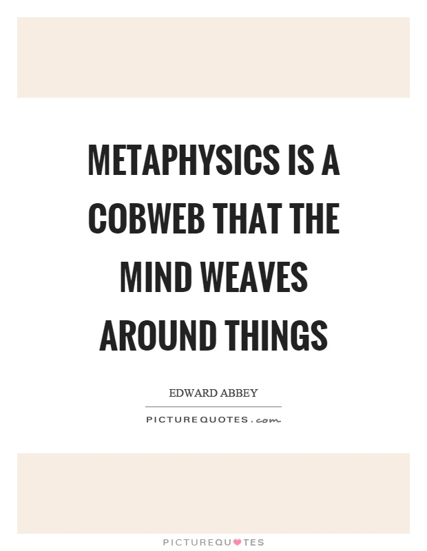 Metaphysics is a cobweb that the mind weaves around things Picture Quote #1