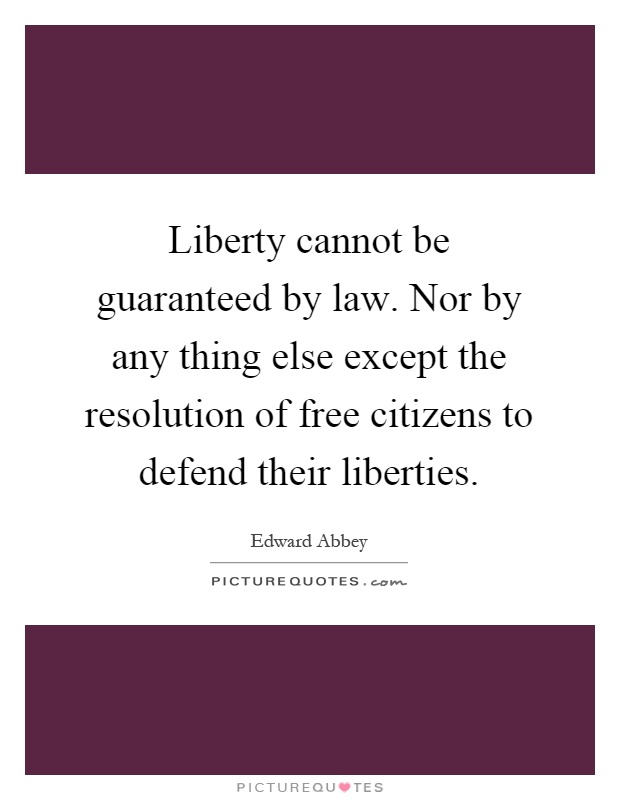 Liberty cannot be guaranteed by law. Nor by any thing else except the resolution of free citizens to defend their liberties Picture Quote #1