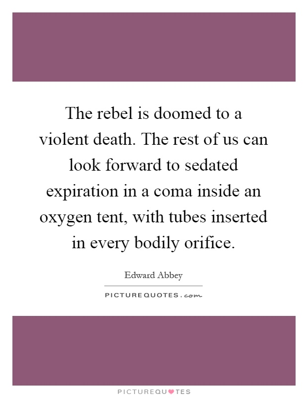 The rebel is doomed to a violent death. The rest of us can look forward to sedated expiration in a coma inside an oxygen tent, with tubes inserted in every bodily orifice Picture Quote #1