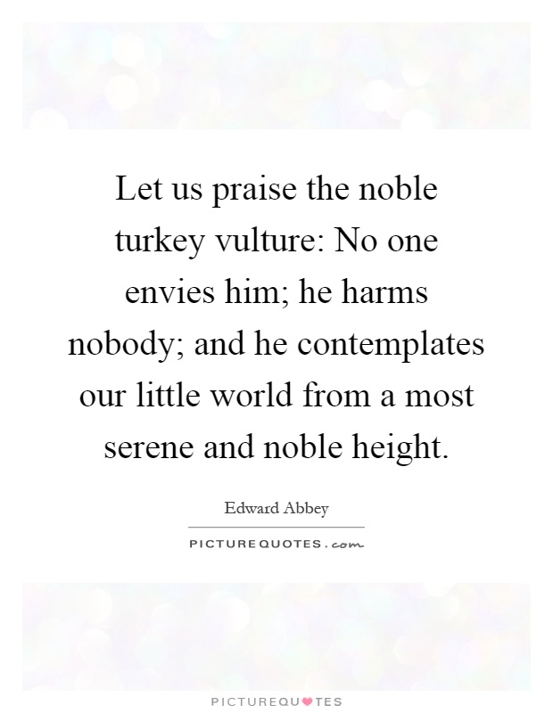 Let us praise the noble turkey vulture: No one envies him; he harms nobody; and he contemplates our little world from a most serene and noble height Picture Quote #1
