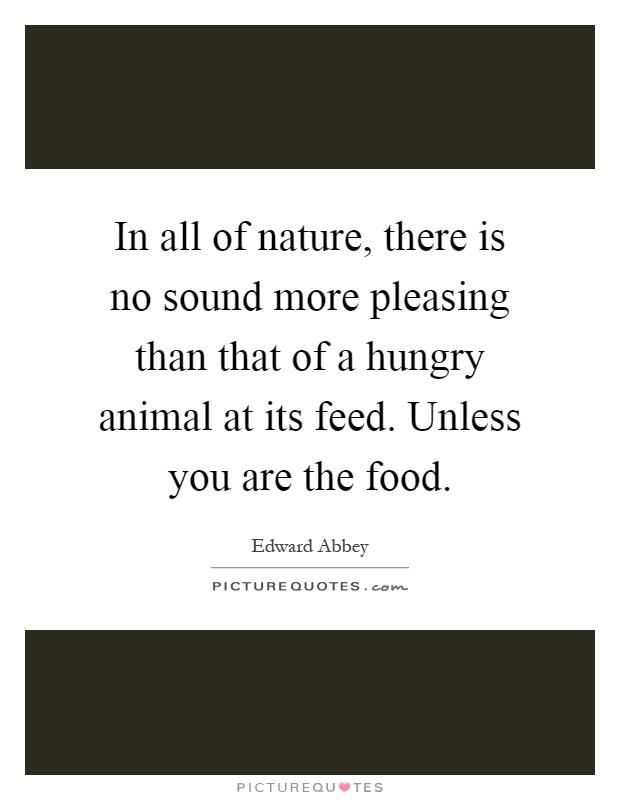 In all of nature, there is no sound more pleasing than that of a hungry animal at its feed. Unless you are the food Picture Quote #1