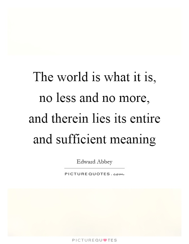 The world is what it is, no less and no more, and therein lies its entire and sufficient meaning Picture Quote #1