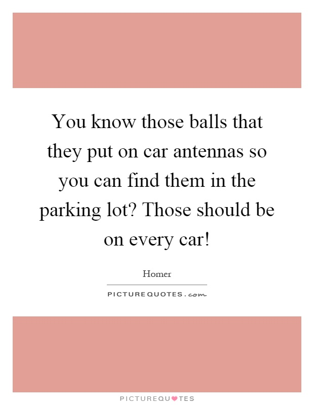 You know those balls that they put on car antennas so you can find them in the parking lot? Those should be on every car! Picture Quote #1