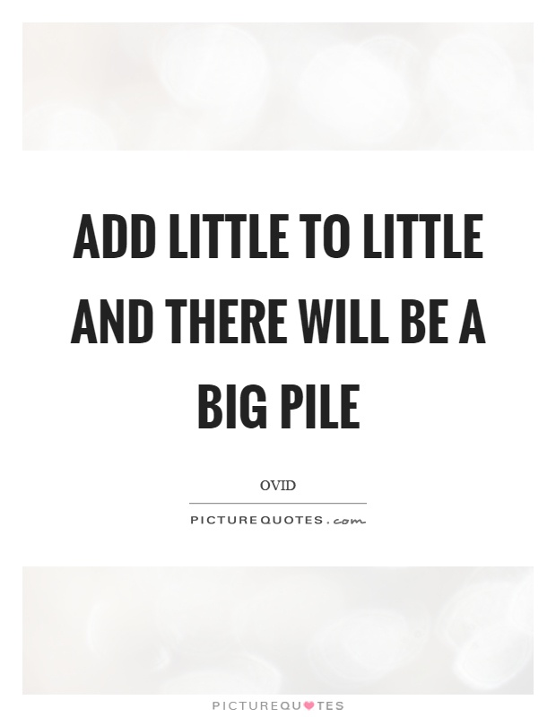 Add little to little and there will be a big pile Picture Quote #1