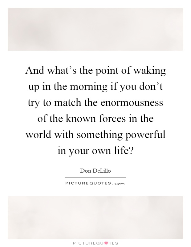 What S The Point Of Life Quotes: And What's The Point Of Waking Up In The Morning If You