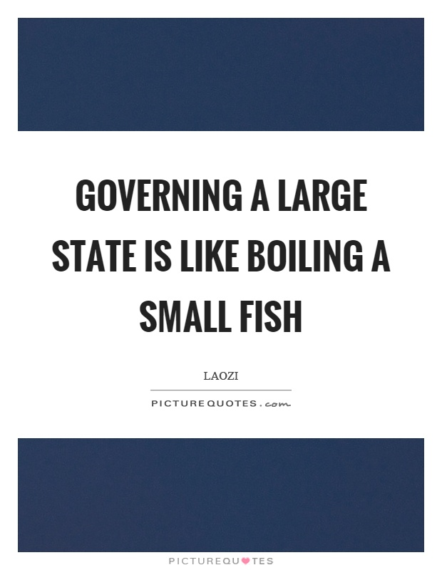 Governing a large state is like boiling a small fish Picture Quote #1