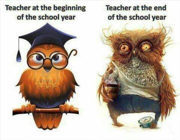 Teacher and the beginning of the school year. Teacher at the end
