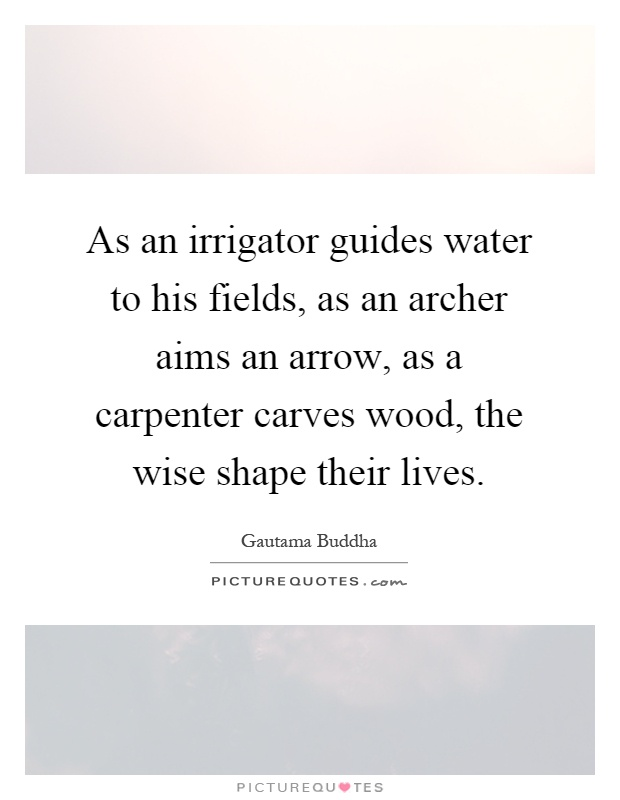 As an irrigator guides water to his fields, as an archer aims an arrow, as a carpenter carves wood, the wise shape their lives Picture Quote #1