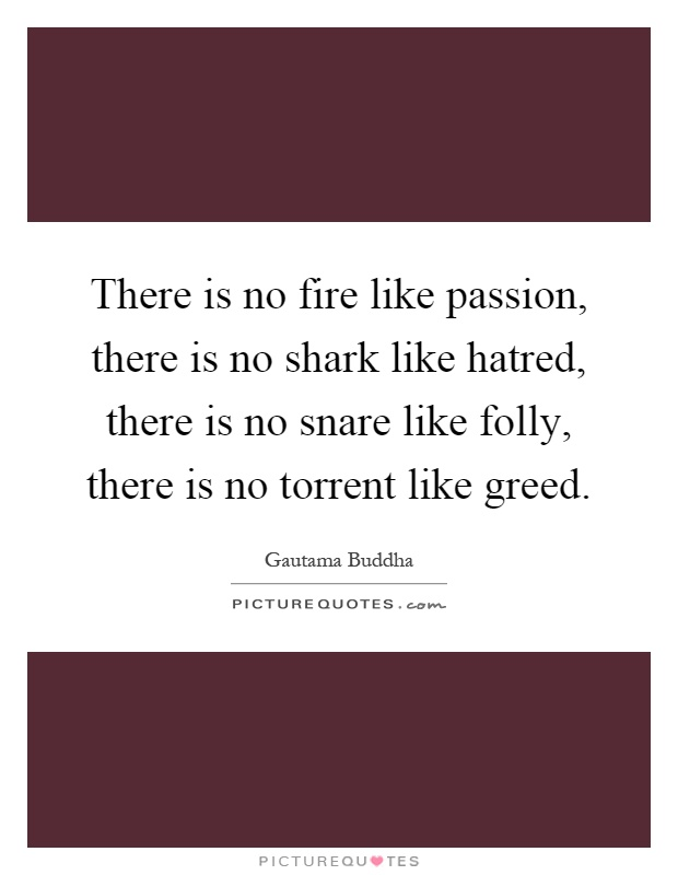 There is no fire like passion, there is no shark like hatred, there is no snare like folly, there is no torrent like greed Picture Quote #1