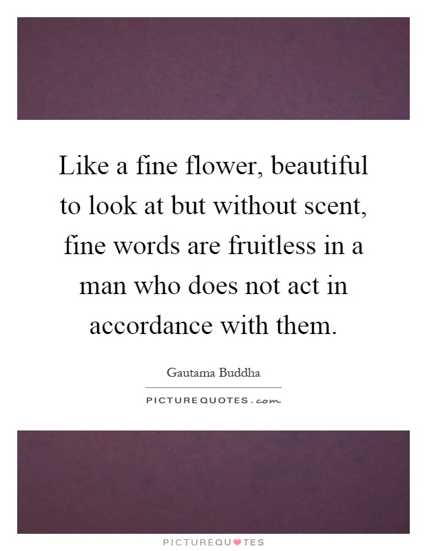 Like a fine flower, beautiful to look at but without scent, fine words are fruitless in a man who does not act in accordance with them Picture Quote #1