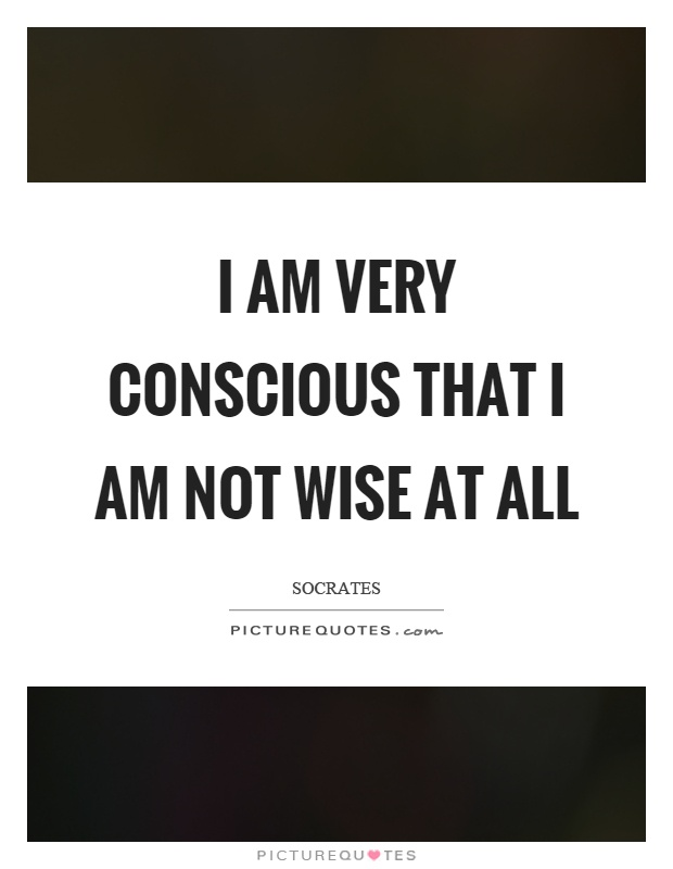 I am very conscious that I am not wise at all Picture Quote #1