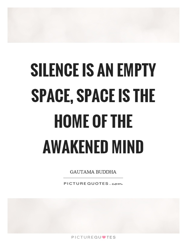 Silence is an empty space, space is the home of the awakened mind Picture Quote #1