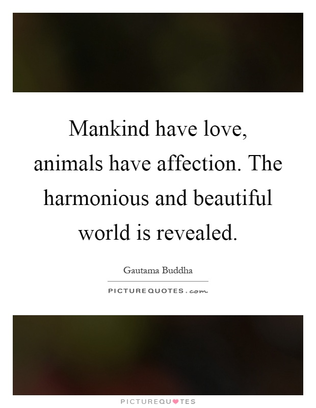 Mankind have love, animals have affection. The harmonious and beautiful world is revealed Picture Quote #1