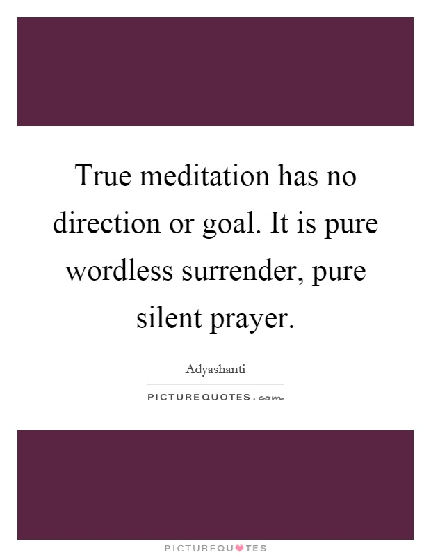 True meditation has no direction or goal. It is pure wordless surrender, pure silent prayer Picture Quote #1
