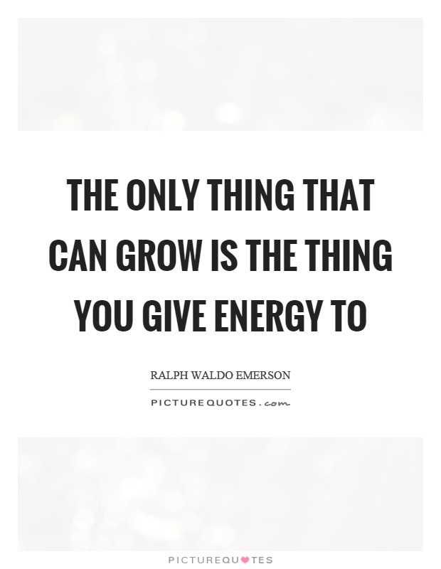 The only thing that can grow is the thing you give energy to Picture Quote #1