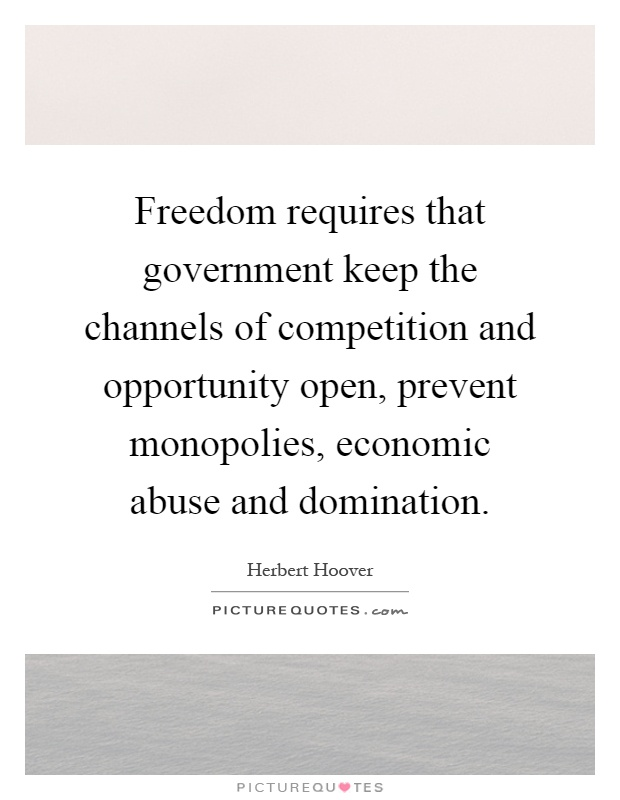 Freedom requires that government keep the channels of competition and opportunity open, prevent monopolies, economic abuse and domination Picture Quote #1