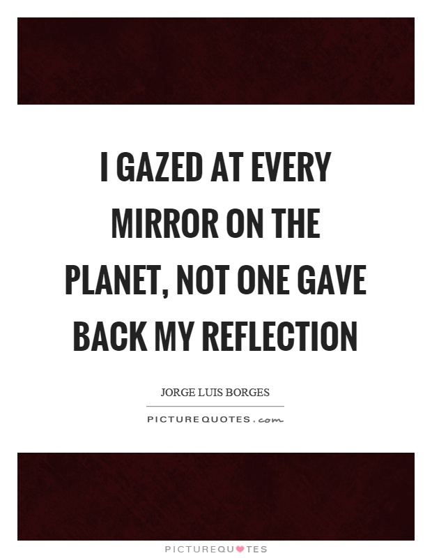 I gazed at every mirror on the planet, not one gave back my reflection Picture Quote #1