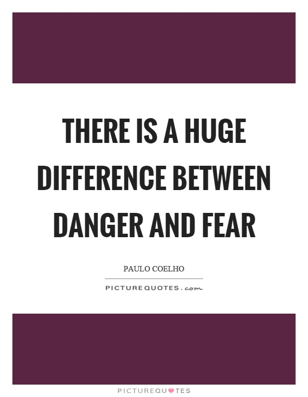 There is a huge difference between danger and fear Picture Quote #1