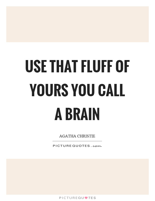 Use that fluff of yours you call a brain Picture Quote #1