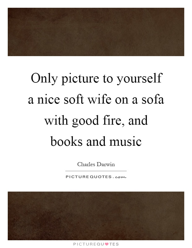 Only picture to yourself a nice soft wife on a sofa with good fire, and books and music Picture Quote #1