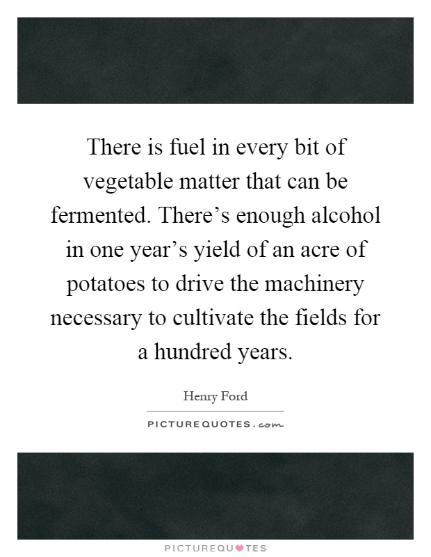 There is fuel in every bit of vegetable matter that can be fermented. There's enough alcohol in one year's yield of an acre of potatoes to drive the machinery necessary to cultivate the fields for a hundred years Picture Quote #1