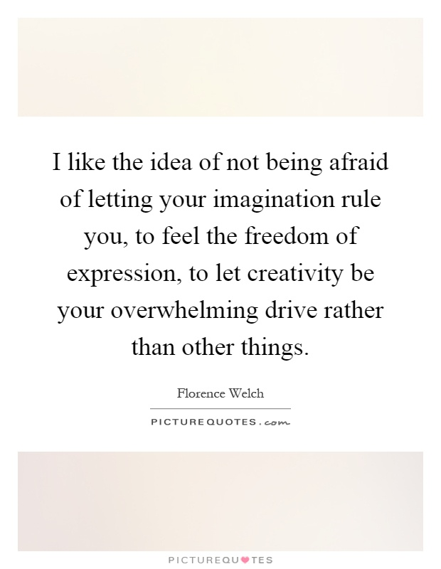 I like the idea of not being afraid of letting your imagination rule you, to feel the freedom of expression, to let creativity be your overwhelming drive rather than other things Picture Quote #1