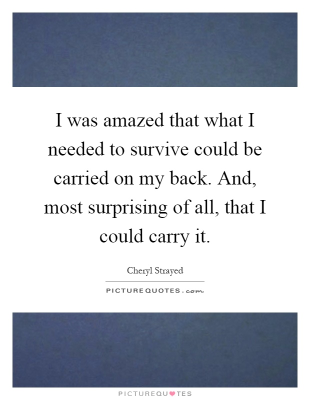 I was amazed that what I needed to survive could be carried on my back. And, most surprising of all, that I could carry it Picture Quote #1